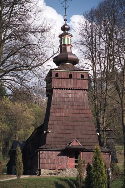 Milik. Cerkiew p.w. św. Kosmy i Damiana, grecko katolicka, obecnie kościół rzymsko katolicki. Łemkowszczyzna.