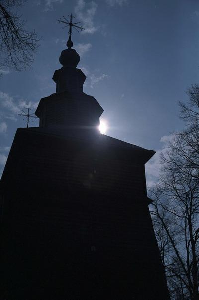 Złockie. Cerkiew p.w. św. Demetriusza Rycerza i Męczennika z XIX w., grecko katolicka, obecnie kościół rzymsko katolicki. Łemkowszczyzna.