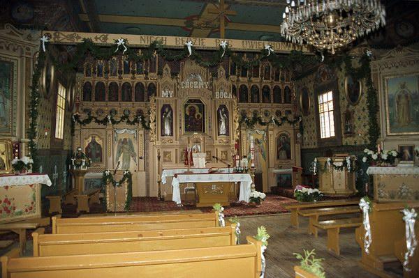 Mochnaczka Niżna. Cerkiew parafialna p.w. św. Michała Archanioła z XVIII w., obecnie kościół rzymsko katolicki. Łemkowszczyzna.