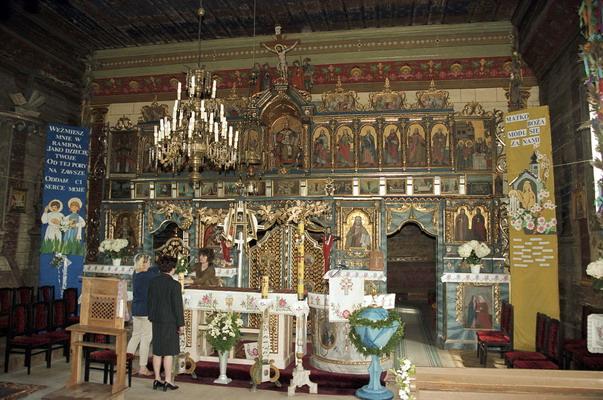 Berest. Cerkiew grecko katolicka p.w. św. Kosmy i Damiana. Obecnie kościół rzymsko katolicki. Wnętrze - ikonostas. Łemkowszczyzna.