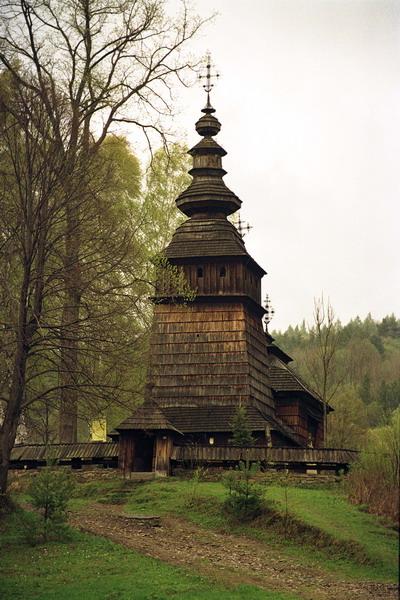 Kotań. Cerkiew grecko katolicka p.w. św. Kosmy i Damiana z 1782 r. Łemkowszczyzna.